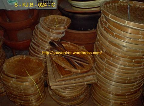Keranjang Anyaman Bambu anyaman bambu tempat lauk motif piring oval souvenir kita
