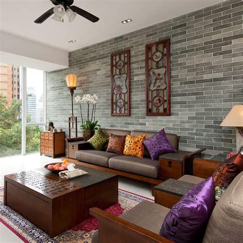 peaceful asian living room interiors designed  comfort