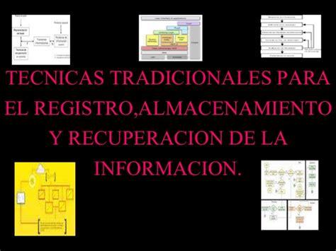 el registro de la tecnicas tradicionales para el registro almacenamiento y recuperacio