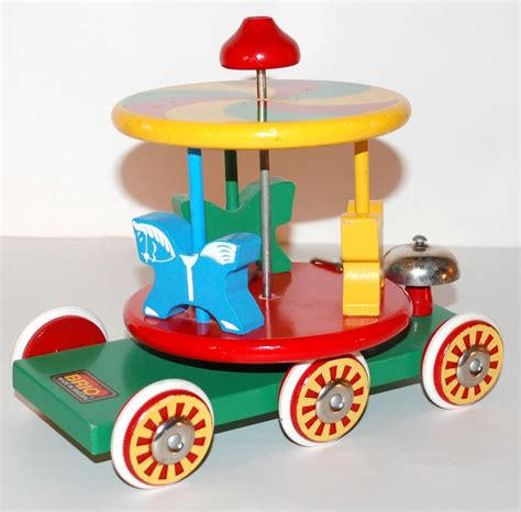 brio sweden brio swedish wood carousel horse pull toy from