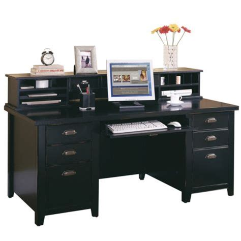 Black Desk With Hutch Tribeca Loft Black Executive Desk With Hutch Officefurniture