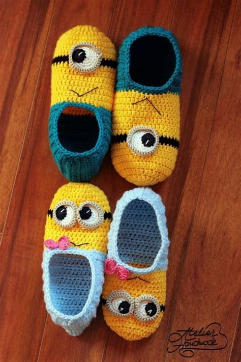 minion house shoes crochet minion slippers for adults are super cute