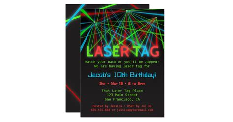 neon words laser tag birthday party invitations zazzle