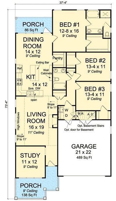 plan 52212wm narrow lot home plan with study pantry