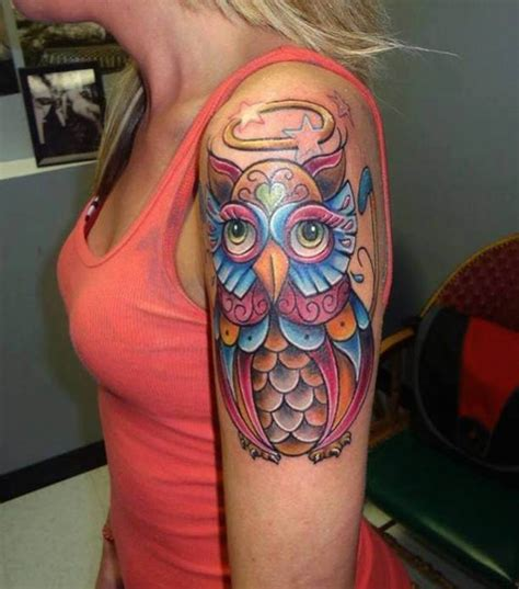 owl tattoo on woman s arm colorful owls tattoo arm woman ideas tattoo designs