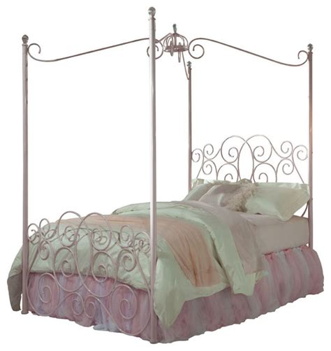 standard furniture princess canopy bed in pink metal