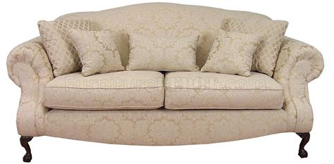 Cream Fabric Traditional Sofa & Loveseat Set w/Optional Chair