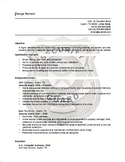security guard resume template for free the world s catalog of ideas