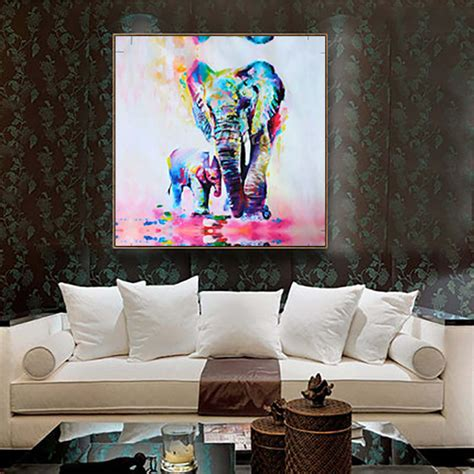 home interior wall hangings unframed canvas print home decor wall picture poster watercolor elephant new ebay