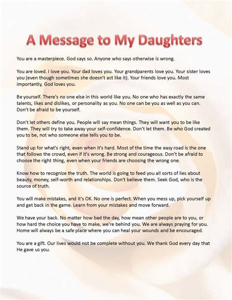 thank you letter to my daughters this is what i want my daughters to a message for