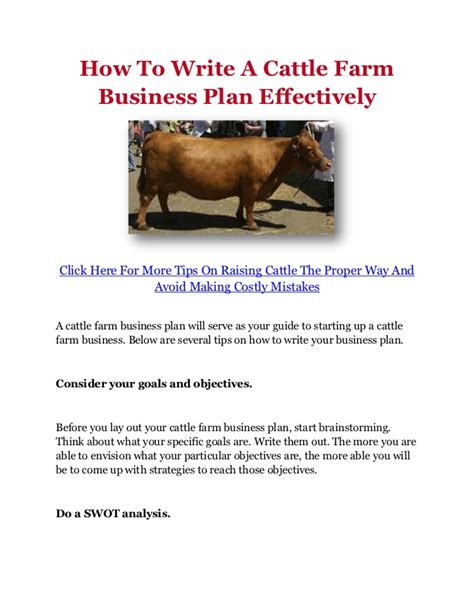 Livestock Business Plan Template how to write a cattle farm business plan effectively