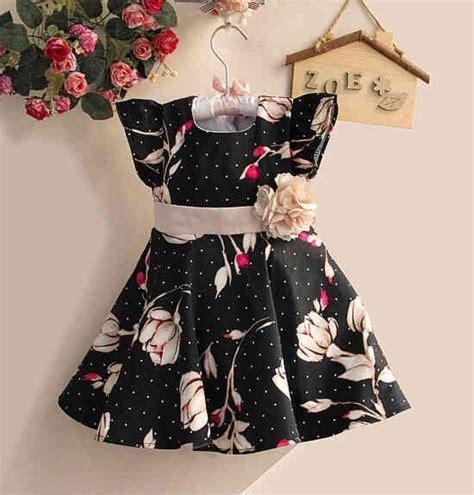 Dress Motif Bunga Warna Hitam dress anak zoe motif bunga warna hitam usia 4 5tahun
