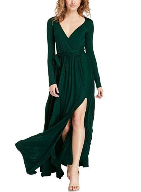 High Quality Sleeved V Neck Dress With Belt s v neck sleeve high slit maxi dress with belt achicgirl