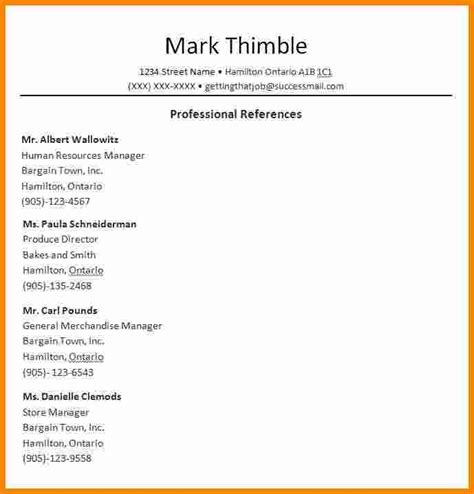 reference list template word sufficient capture resume page entry
