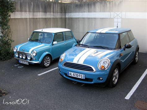 Mini Original original mini in oxygen blue next to a modern mini in