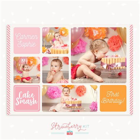 free birthday collage template cake smash collage template strawberry kit