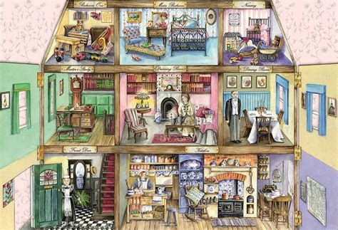 old fashioned dolls house gibsons jigsaw puzzles upstairs and downstairs 500pc jigsaw puzzle by val goldfinch