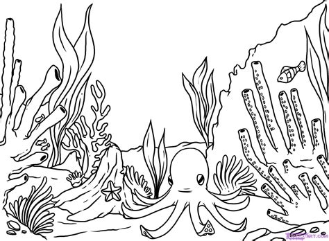 ocean background coloring page how to draw a coral reef step 8 drawing pinterest