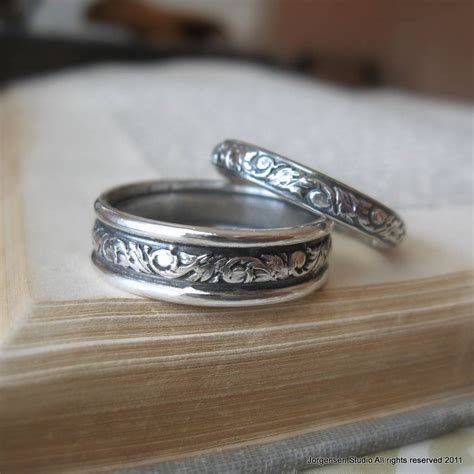 Silver Wedding Bands by Scroll Pattered Wedding Band Set Sterling Silver Wedding Rings