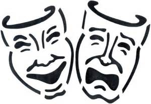 Theater Mask Outline by Drama Masks Vector Clipart Best