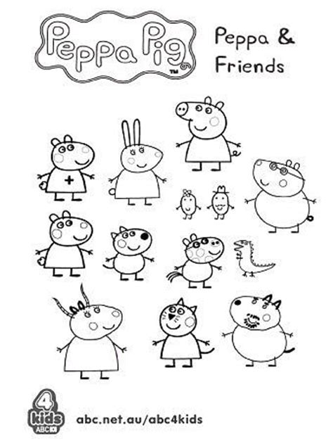 peppa pig characters coloring pages peppa and friends colouring pages pinterest amigos