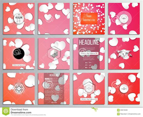 valentines day card square template set of 12 creative cards square brochure template design