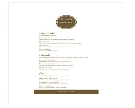 menu specials template 35 free menu templates pdf word documents