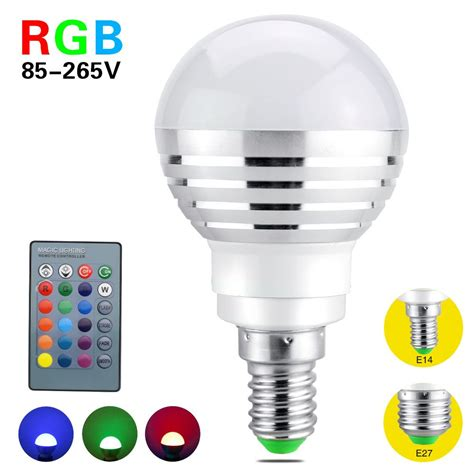Lu Bohlam Led Rgb 3w 16 Colors With Remote E27 metoo e14 e27 16 colors changing 3w 85 265v magic rgb led l light dimmable rgb bulb with