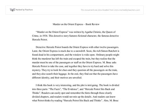 Murder Essay by Murder On The Orient Express Book Review Gcse Marked By Teachers