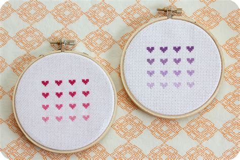 cross stitch little lovelies cross stitch ombre hearts
