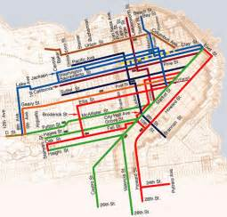 Trolley Map San Francisco by Cable Car Lines Map Fullest Extent