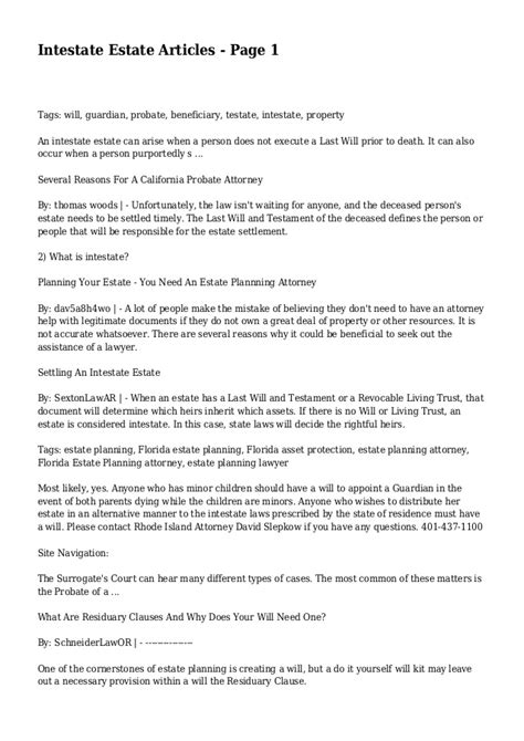 Intestate Estate Articles Page 1 Estate Will Template