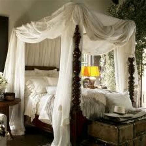 romantic beautiful bedrooms pinterest antique dark wood carved four poster bed with creme