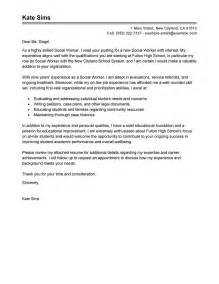 Cover Letter Social Services by Cover Letter Exle Cover Letter Exle Social Services
