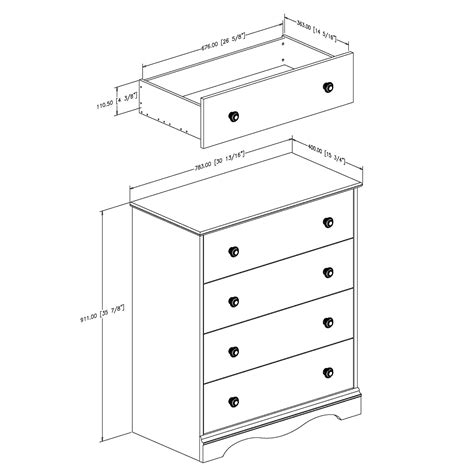 Standard Drawer Dimensions by South Shore Furniture 36 034 Heavenly 4 Drawer Chest Atg