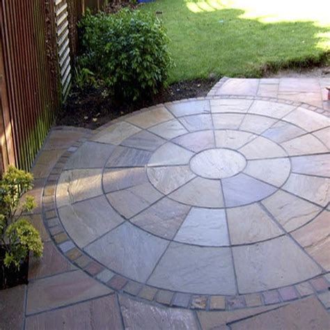 autumn brown indian sandstone circle patio paving