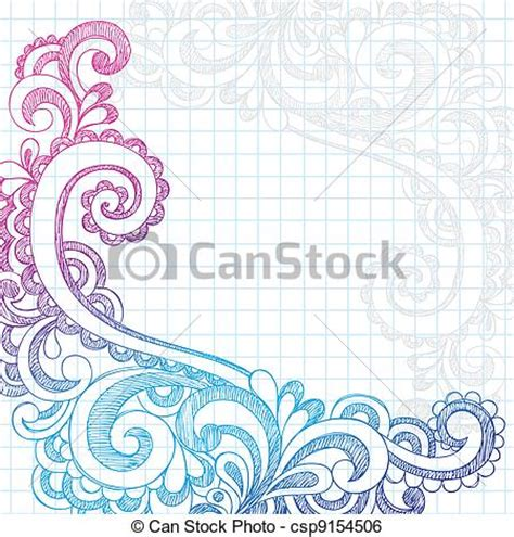 clip art vector of paisley sketchy doodles page edge