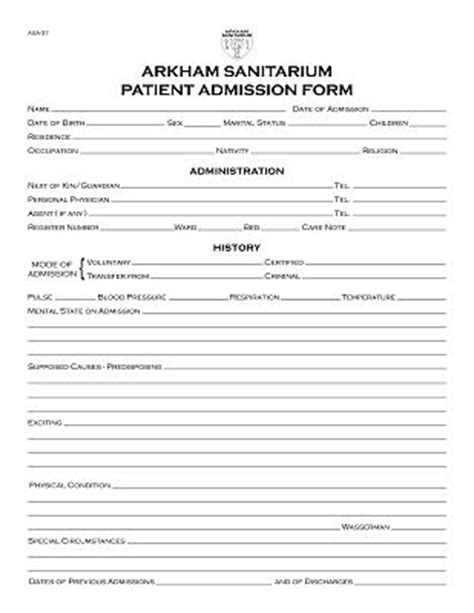 hospital admission form template patient registration