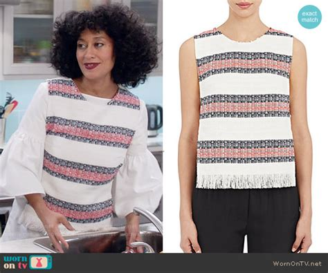 tracee ellis ross on blackish wornontv rainbow s white bell sleeve top and striped top