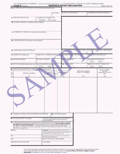 shippers export declaration sed export declaration