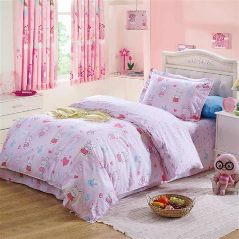 little girl pink rabbit heart comforter bedding sets