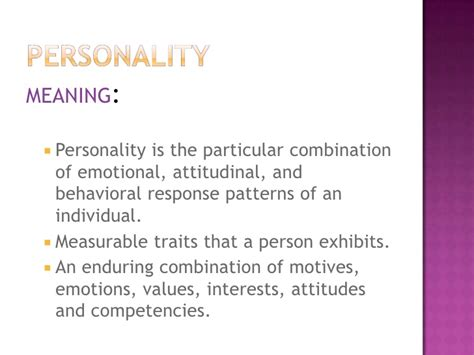 enduring pattern meaning personality and emotions ppt marks