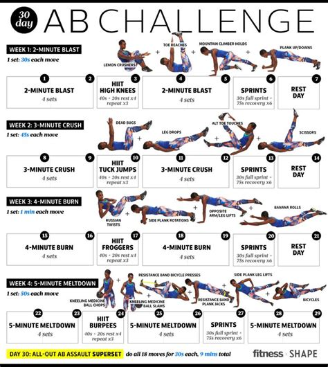 day ab challenge  month  flatter abs middle