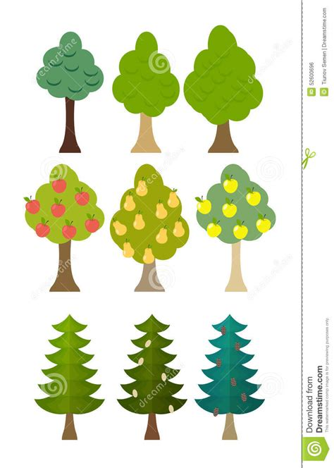 set tree set tree icon fruit trees conifers forest trees vector