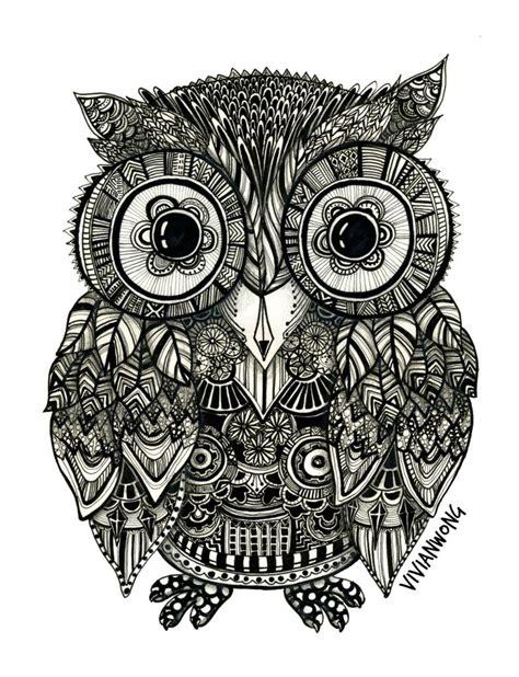 zentangle owl pattern zentangle owl fineliner pen drawing handmade high
