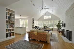 Main living room with 15 vaulted ceiling where an attic storage room