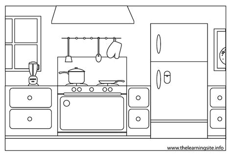coloring pictures of kitchen the learning site