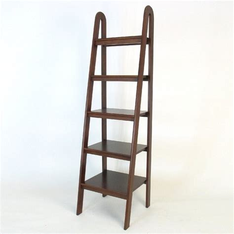 basswood 5 tier ladder bookcase in brown 9025