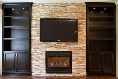 glass shelves built  units  fireplace