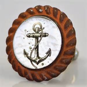 set of 2 antique iron anchor drawer knobs anchor